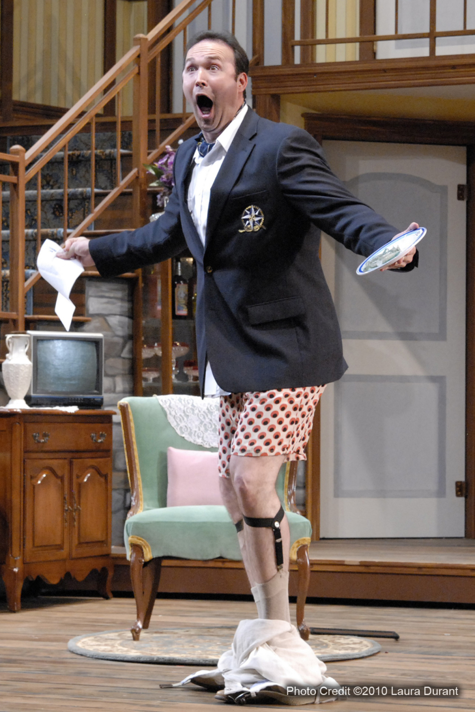"Joseph Kremer, known for his dramatic roles, revealed a gift for screwball farce in Phoenix Theatre's 2011 production of ""Noises Off."" (Photo by Laura Durant)"