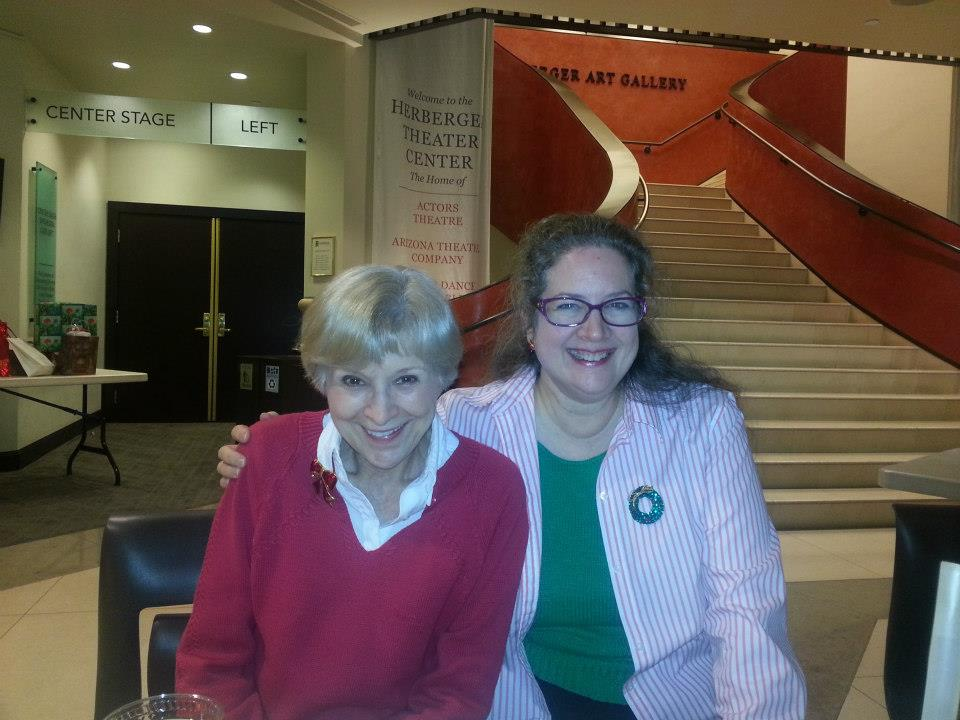 Judy Rollings and Drew Templeton take a meeting at the Herberger Theater Center. (Photo credit unknown)
