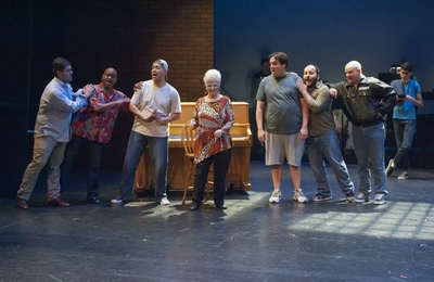 "Julian Peña, Michael Leeth, Damon J. Bolling, Barbara McBain, Andrew Lipman, Jonathan Holdsworth, Chad Campbell and Aaron Zweiback in ""The Full Monty"" at Mesa Encore Theatre, 2014. (Photo by Wade Moran)"