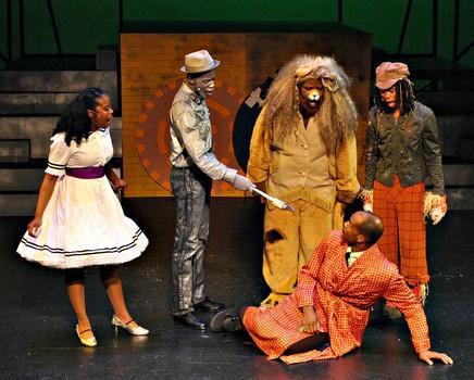 Mesa Encore Theatre. 2015. The Wiz. Jacqueline Monet,  Matravius Avent, Nathaniel Tenenbaum, Shawn Wong. (Photo by Sarah Rogers)