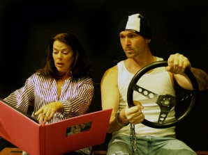 "Debra K. Stevens (left) plays the amnesiac Claire and Joe Kremer her would-be kidnapper in Nearly Naked Theatre's ""Fuddy Meers."" Photo by Christopher Mascarelli."