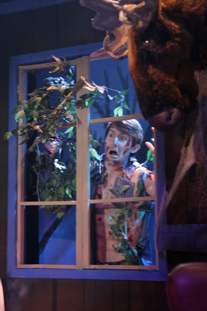 "Don't open the window! Toby Yatso in ""Evil Dead: The Musical"" at Nearly Naked Theatre. (Photo by Jeff A. Davis)"