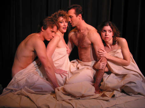 "Cruelty makes strange bedfellows. The principal cast of Nearly Naked Theatre's ""Les Liaisons Dangereuses,"" from left: Josh McDermott, Andrea Pruseau, Joe Kremer and Courtney Weir. Photo by Christopher Mascarelli."