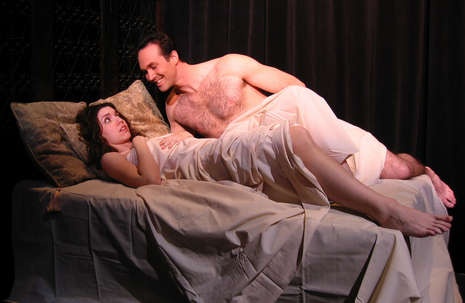 "Courtney Weir learns the danger in trusting men as she is visited by Joseph Kremer in Nearly Naked Theatre's production of ""Les Liaisons Dangereuses."" Photo by Christopher Mascarelli."
