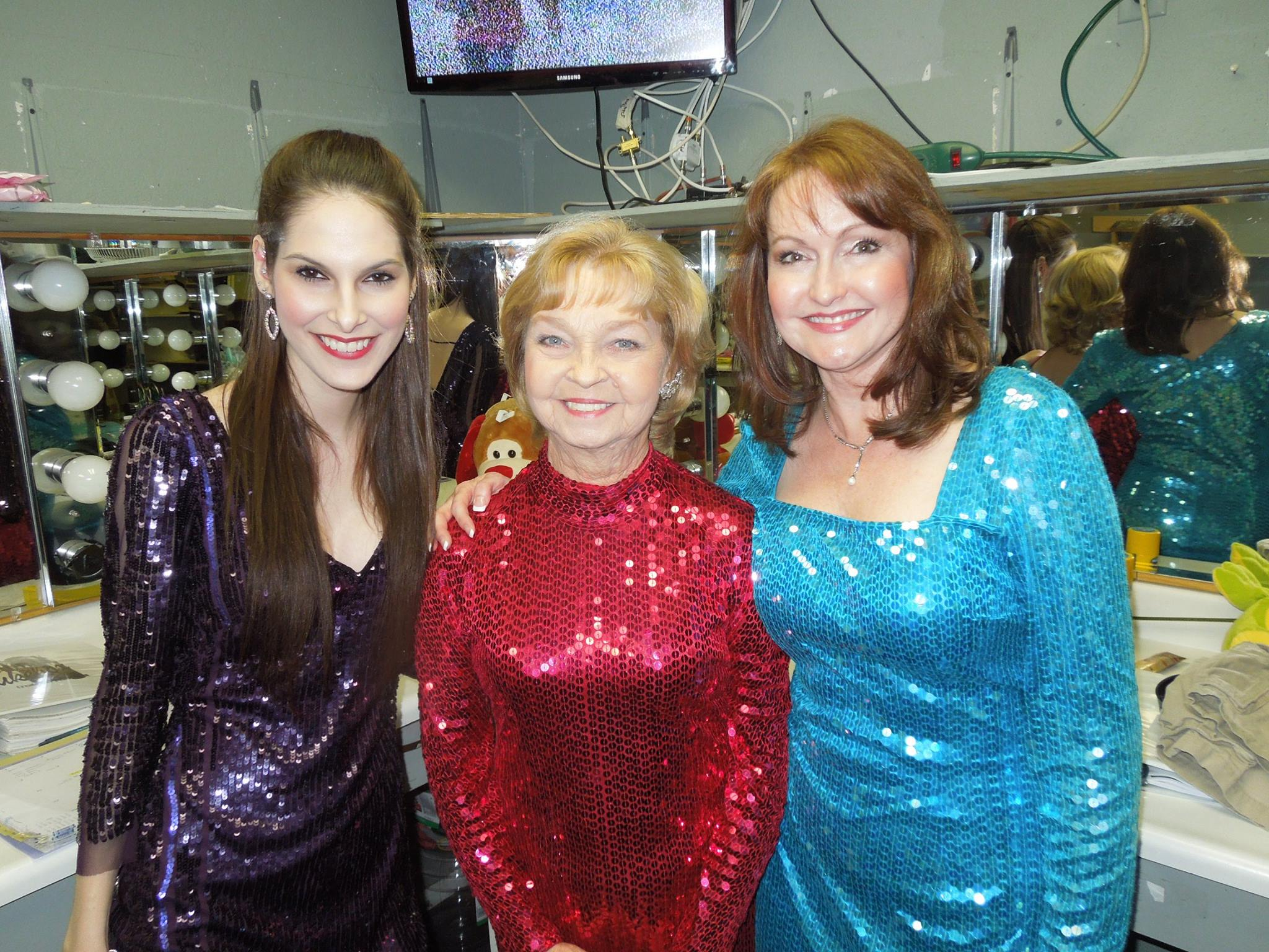 Jacqui Notorio, Noel Irick and Janine Smith pose for the camera in their dressing room at Fountain Hills Theatre. 2014. Photographer not known.