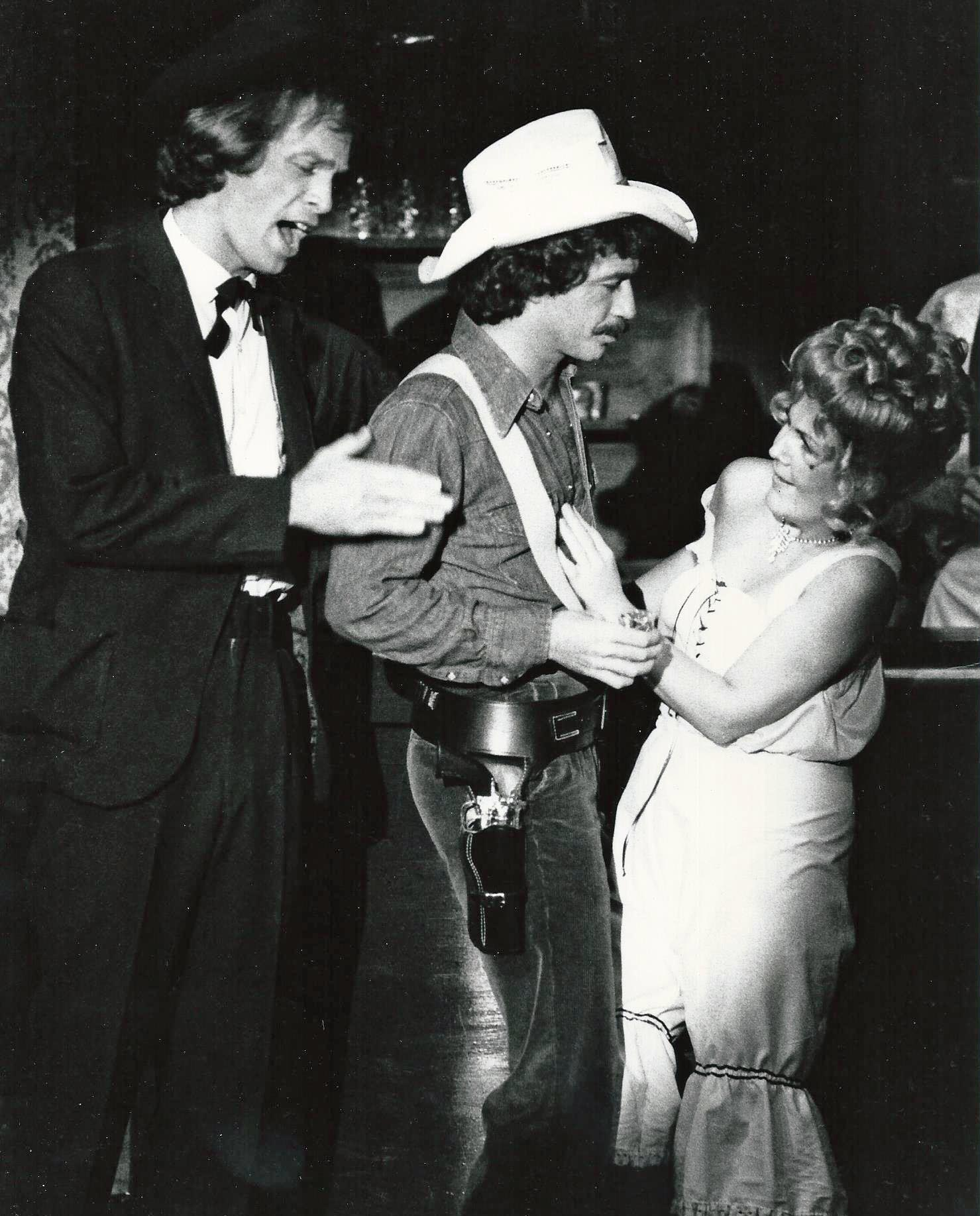 "Steven Carry, unidentified actor, and Jan Sandwich in Phoenix Little Theatre's production of ""Destry Rides Again."" (Photo from the collection of Jan Sandwich)"