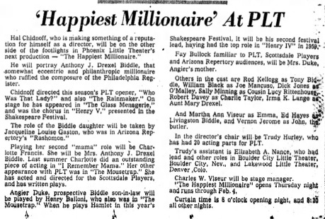 Phoenix Theatre 1961 The Happiest Millionaire 001