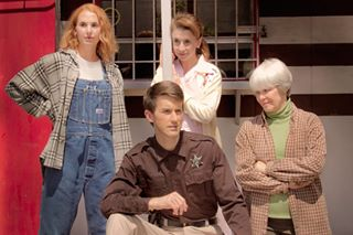 """The Spitfire Grill,"" 2011, at Phoenix Theatre. Pictured  to R: Trisha Hart Ditsworth as Percy, Toby Yatso as Joe, Jeannie Shubitz as Shelby and Barbara McBain as Hannah."