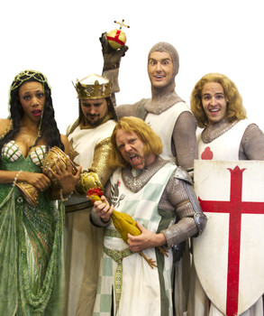 Kimberly Hamby as The Lady of the Lake, Joseph Cannon as King Arthur, Toby Yatso as Lancelot, Robert Kolby Harper as Robin, and Michael Andrako as Galahad. (Photo courtesy of Phoenix Theatre.)