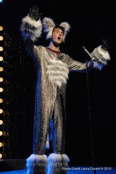 "Toby Yatso in Phoenix Theatre's ""Forbidden Broadway."" (Photo by Laura Durant)"