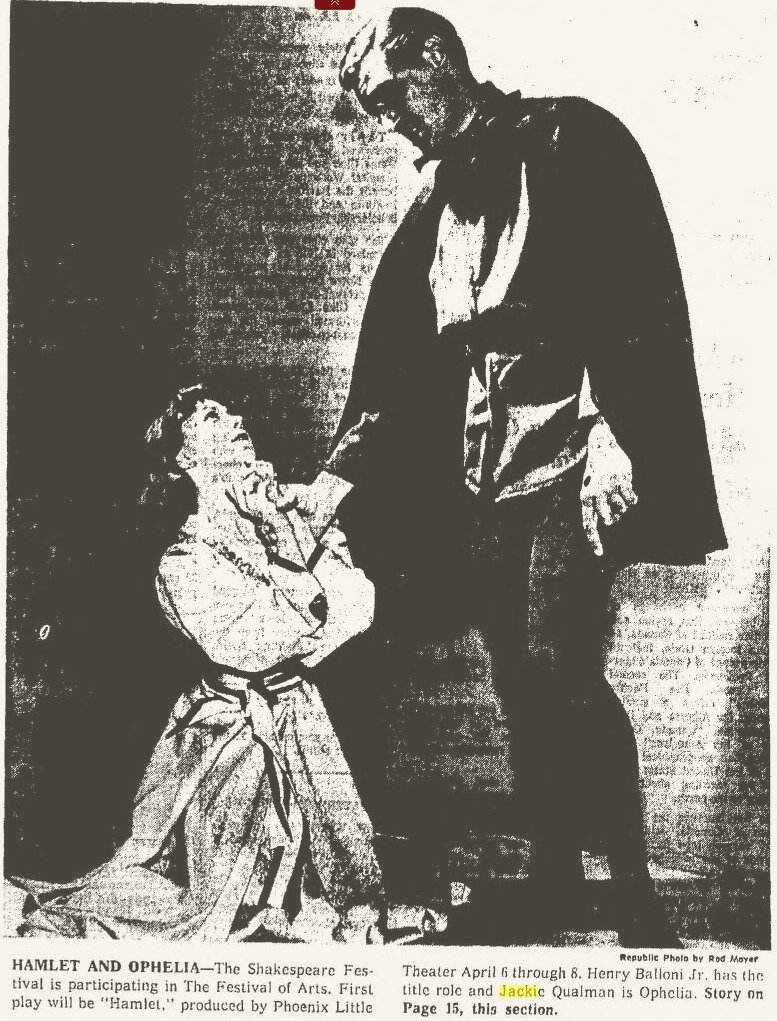 Photograph that appeared in the March 19, 1961 Republic, featuring Jackie Qualman and Henry Balloni Jr. in Phoenix Theatre's Hamlet.