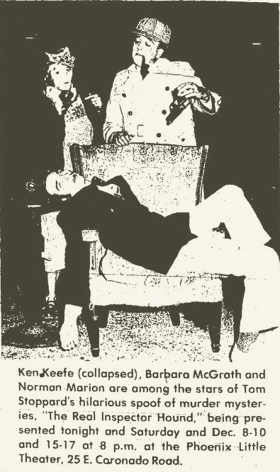 "Ken Keefe (collapsed), Barbara McGrath, Norman Marion. ""The Real Inspector Hound,"" Phoenix Little Theatre. Clipping from the Scottsdale Daily Progress, Dec. 2, 1977."