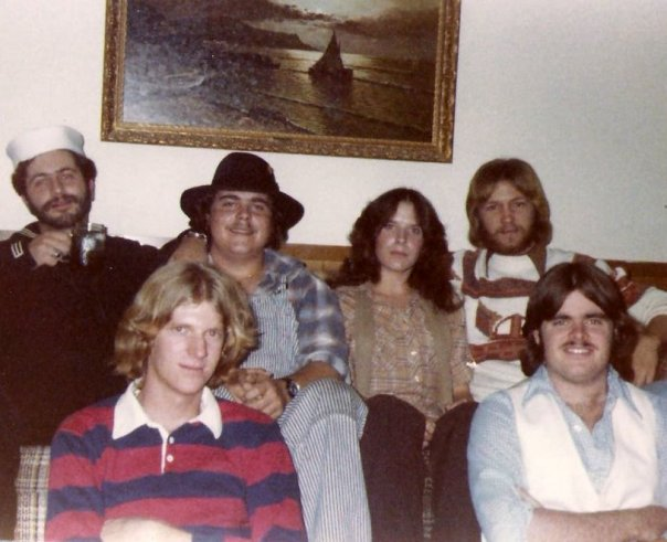 Robyn and the boys: Front, unidentified, Pat Russell; Back, Steve DiMuria, unidentified, Robyn, Chuck Sigars. (Photo credit unknown)