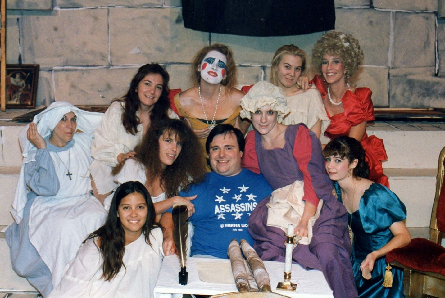 The Persecution and Assassination of Jean Paul Marat as Performed by the Inmates of the Asylum of Charenton Under the Direction of The Marquis de Sade. Theater Works,1992. Among those in the photo are Wes Martin, Robyn Allen, Shawnna Pomeroy and MaryAnn Martin. (Photo credit unknown)