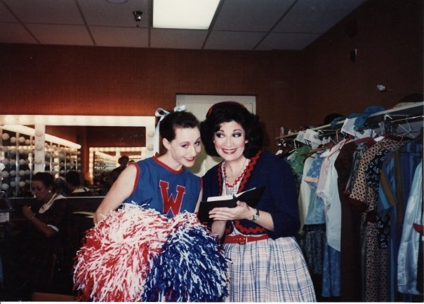 "Robyn Ferracane and a friend backstage at ""Damn Yankees."" (Photo from the collection of Robyn Ferracane)"