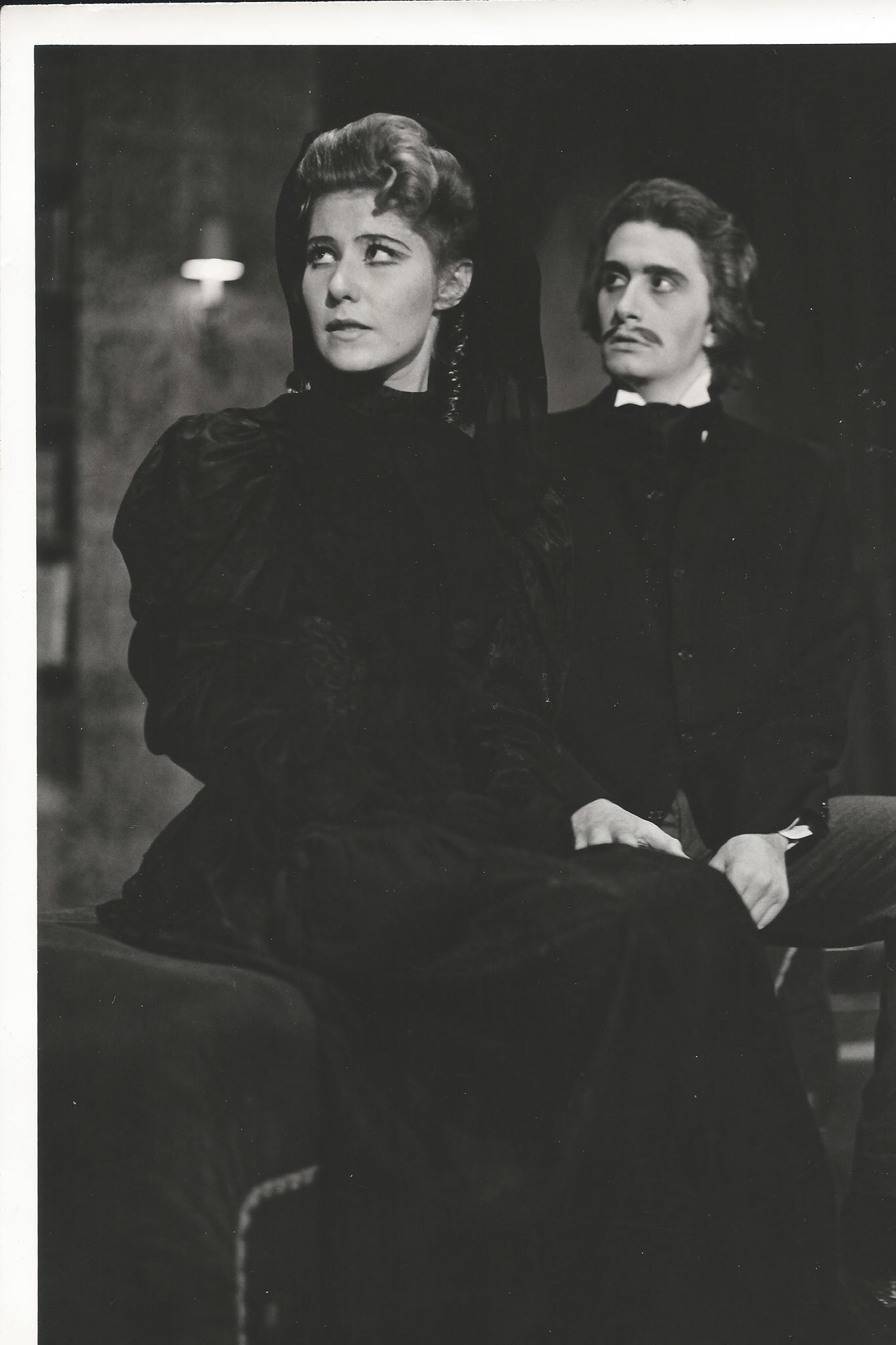 "Martha Welty as Elizabeth and Thomas Mastronardi as Dr. Frankenstein in the world premiere of ""Frankenstein"" in 1975. (Photo from the collection of Martha Welty)."