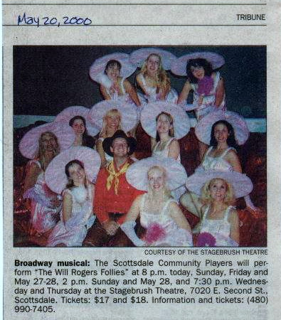 Chris Erikson as Will, surrounded by showgirls that included Natalie Charle Ellis, Beth Anne Johnson, Laurie Trygg and Andi Watson. Clipping from the Mesa Tribune
