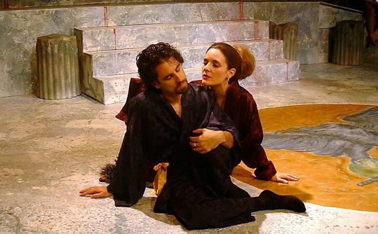 "Chris Williams and Maren Maclean in ""Titus Andronicus"" at The Shakespeare Theatre, 2002. (Photo by Joel Goodwin)"