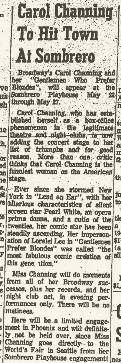 Sombrero Playhouse, Carol Channing, May 11, 1962 Scottsdale Progress