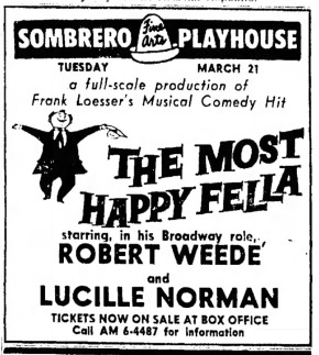 Sombrero Playhouse, The Most Happy Fellow, April 1961