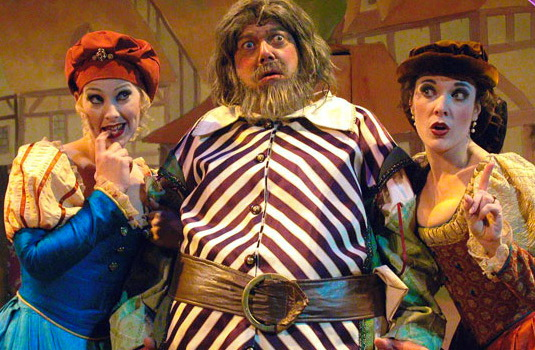 "Andi Watson, Gene Ganssle and Maren Maclean in ""The Merry Wives of Windsor,"" Southwest Shakespeare Company, 2002. (Photograph by Laura Durant.)"