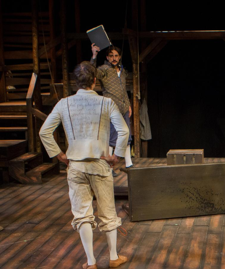 Southwest Shakespeare Company, 2014, 'Equivacation,' Andy Cahoon, Joseph Cannon (Photo by Devon Adams)