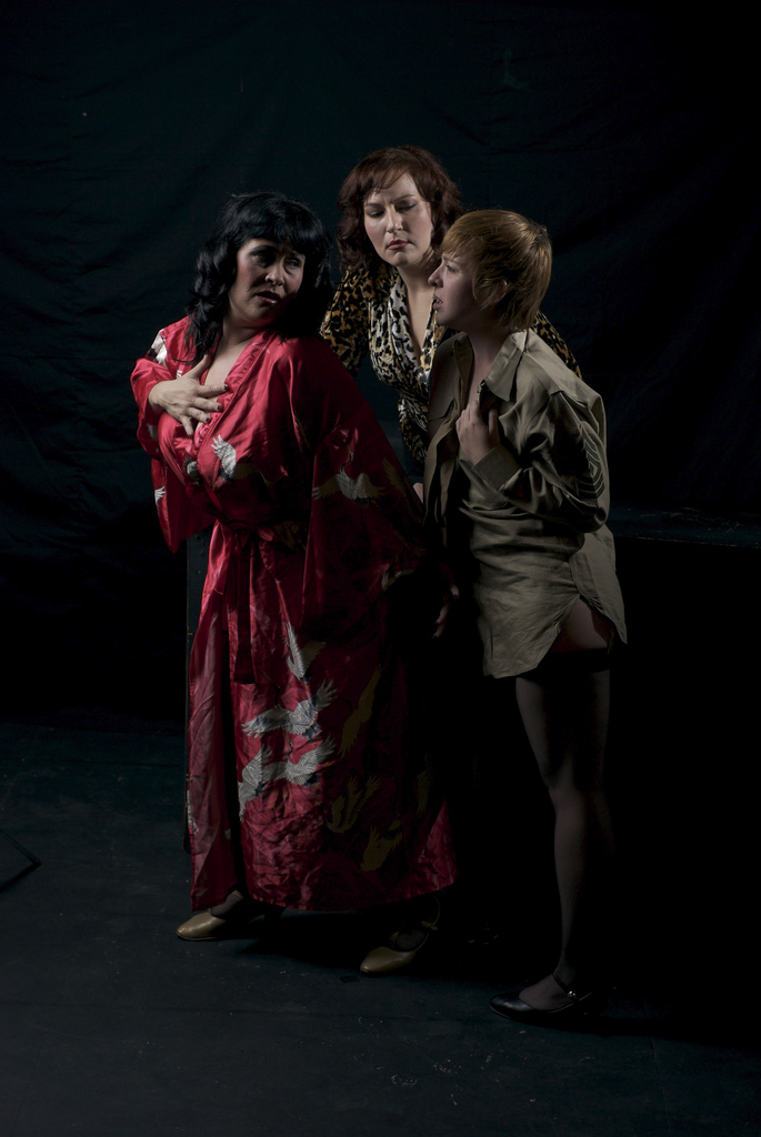 "Stray Cat Theatre's 2008 production of ""Pulp"" featured Johanna Carlisle as Vivian, Tracy Payne as Eva and Katie Harroff as Terry. (Photo by John Groseclose)"