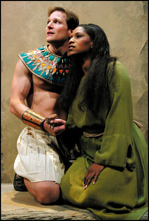 "Jaymes Hodges as Radames and Melodye Perry as Aida in Theater League's production of ""Aida."" (Photo credit unknown)"