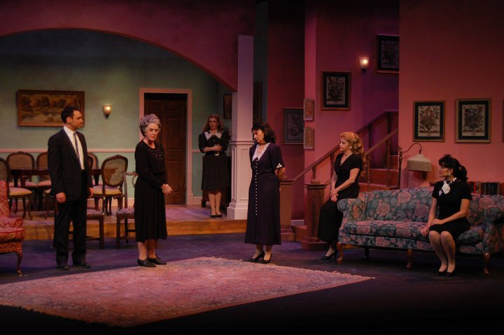 """Dividing the Estate,"" a 2011 production at Theater Works, featured Jacqueline Gaston (second from left) with with Marshall Glass, Hilary Hirsch, Samantha Brannoch, Donna Georgette and He'ther Brady."