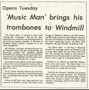 Windmill Dinner Theatre, Dec. 30, 1977 Music Man & Send Me No Flowers