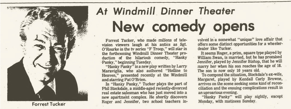 Windmill Dinner Theatre, Hanky Panky 001