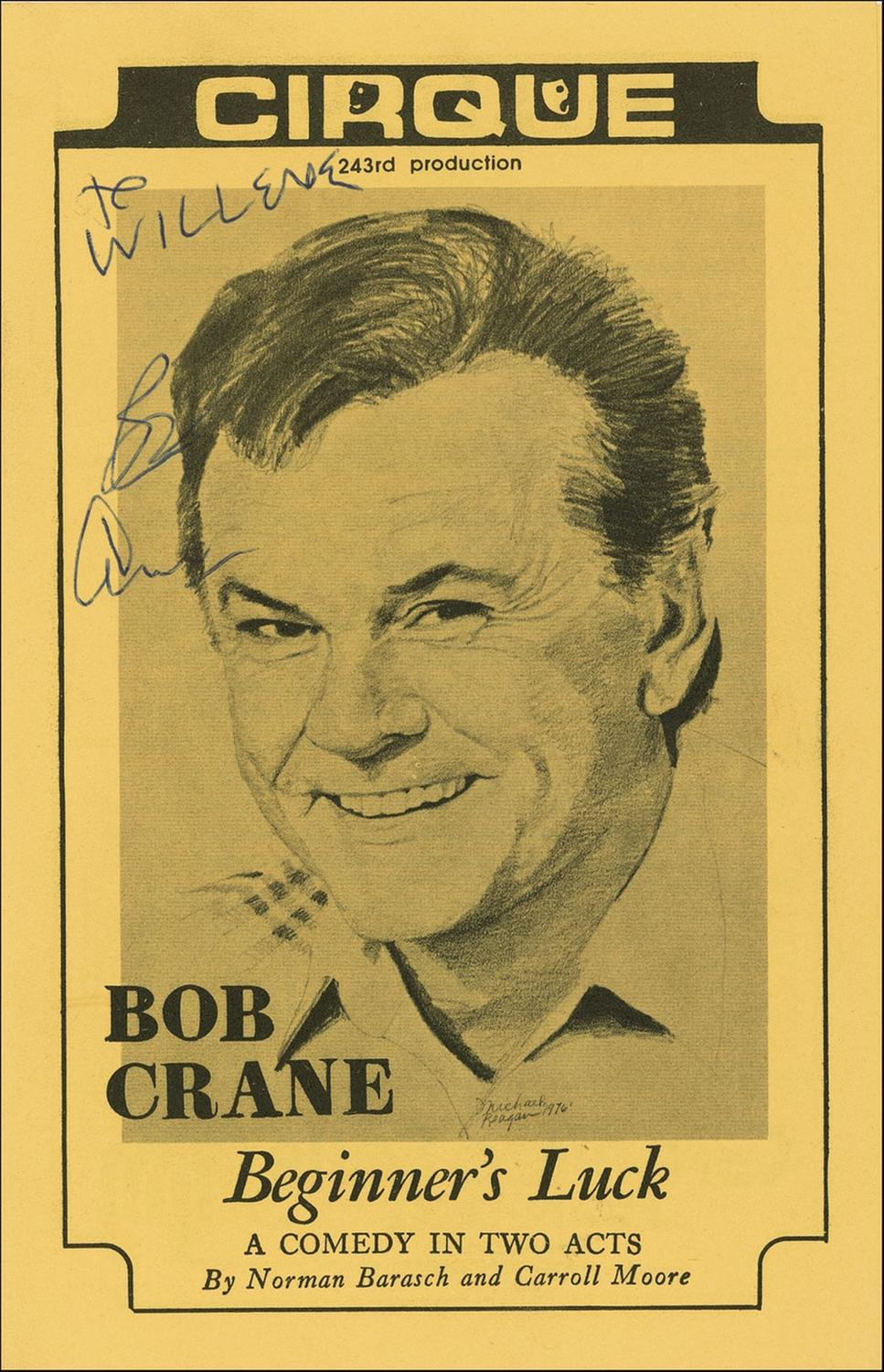 Crane autographed this program during an earlier stop on the tour.