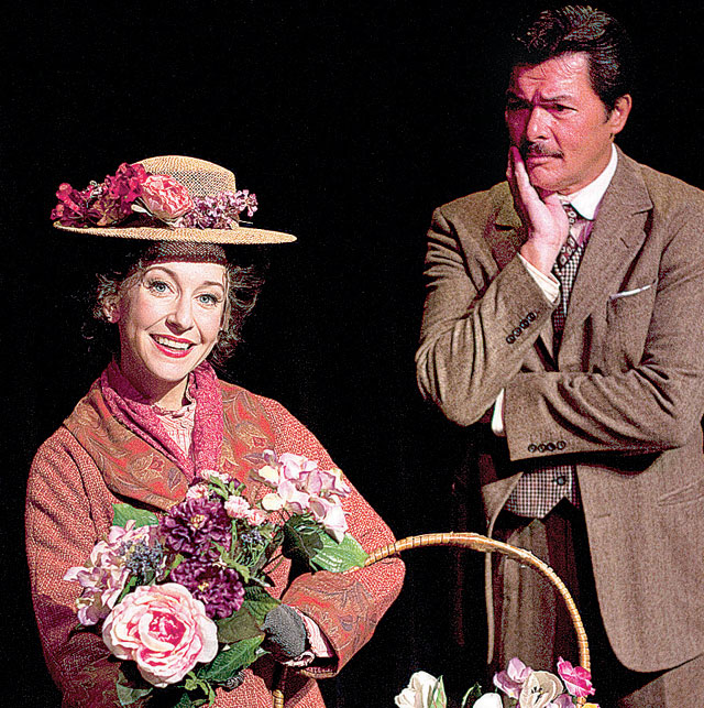 "Jeannie Shubitz as Eliza and Philip Peterson as Professor Higgins in ""My Fair Lady,"" 2011, Arizona Broadway Theatre."