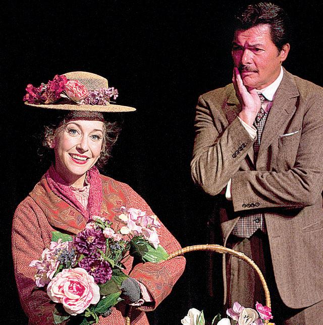 "Jeannie Shubitz as Eliza and Philip Peterson as Professor Higgins in ""My Fair Lady,"" 2011, Arizona Broadway Theatre."