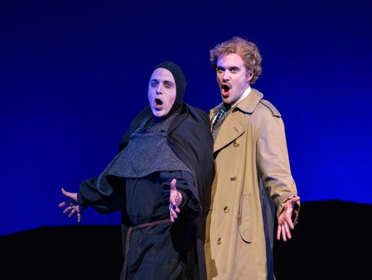 "Brad York is Igor and Kurtis W. Overby is Dr. Frankenstein in ""Young Frankenstein"" at Arizona Broadway Theatre (Photo by Mike Benedetto)"