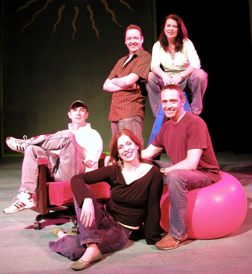Childsplay Associate Artists 2003-2004. Seated: Jon Gentry, Katie McFadzen, Dwayne Hartford. Standing: D. Scott Withers, Debra K. Stevens. (Photo credit unknown; lent courtesy of D. Scott Withers)