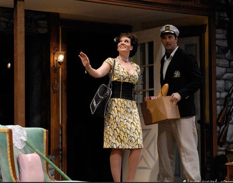 "Maren Maclean and Joseph Kremer in Phoenix Theatre's hit comedy, ""Noises Off."" (Photo by Laura Durant)"