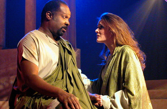 "Ken Love and Maren Maclean in ""Julius Caesar"" at Southwest Shakespeare Company, 2002. (Photo by Laura Durant)"