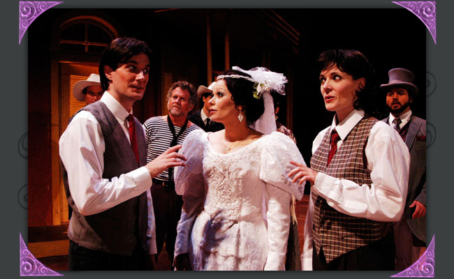"Christian Miller, Sandy Elias, Jen Banda, Maren Maclean and Cale Epps in ""Twelfth Night,"" Southwest Shakespeare Company, 2004. (Photo by Lauran Durant)"