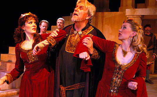"Maren Maclean, Ken Ruta, Andi Watson (back row) Scott Dillon, Randy Messersmith and Charlie Bethel in Southwest Shakespeare Company's 2004 production of ""King Lear."" (Photo by Laura Durant)"