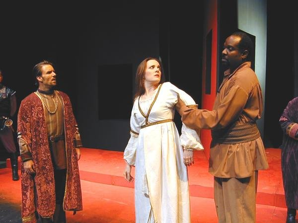 "Michael Sherwin, Maren MacLean and Ken Love in ""Othello,"" 2009, Southwest Shakespeare Company. (Photo by Laura Durant)"