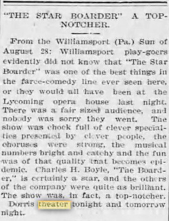 Dorris Theatre Dec 13, 1900