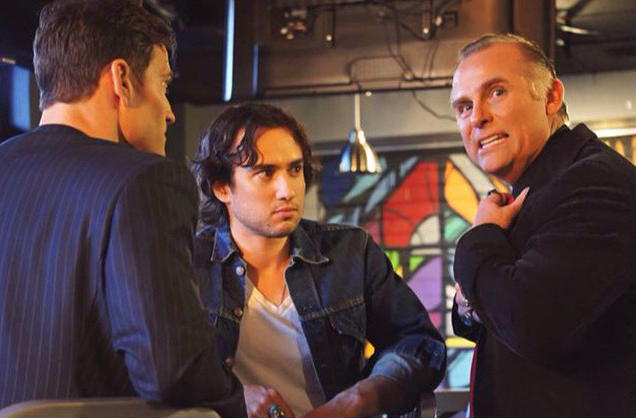 Greg Lutz with Tyler Gallant and Brendan Bradley on the set of the TV pilot, 'Tales from Old Town,' 2014