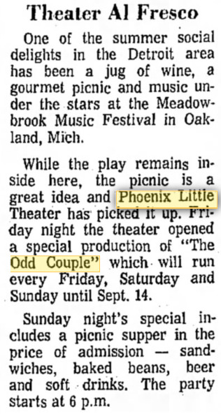 Phoenix Theatre, 1968, The Odd Couple 002