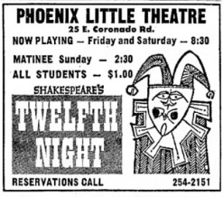 Phoenix Theatre, 1969, Twelfth Night 001