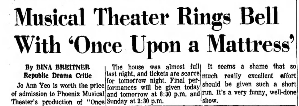 Phoenix Theatre Once Upon A Mattress 1967 Nov - 1