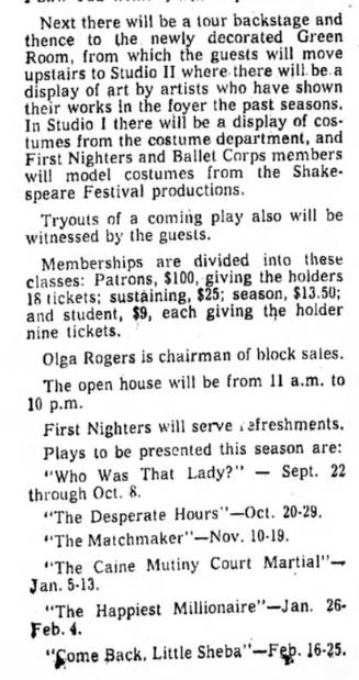 phoenix theatre sept 4, 1960 a
