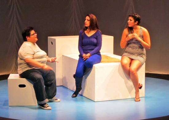 "Sandy Leon, Diana Z. Jordan, and Amy Arcega in Teatro Bravo's production of ""Clock."" (Photo courtesy of the company)"