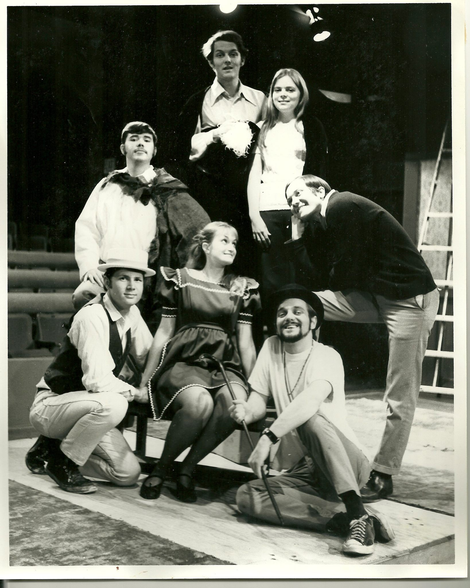 The Fantasticks in Redlands, CA in June, 1970. David Lee as El Gallo, Kathy Brombacher (then Logan) as Luisa (also the musical director), David Vining as the Girl's Father, Harold Dixon as the Boy's Father, Bonnie Sanders as the Mute, Brian Hurley as Matt, Mark Williams as the Old Actor, and directed by Dennis Robinson, who also played the Man Who Dies. The production was dedicated to drama teachers at the University of Redlands, Al and Bertha Johnson, who retired that year.