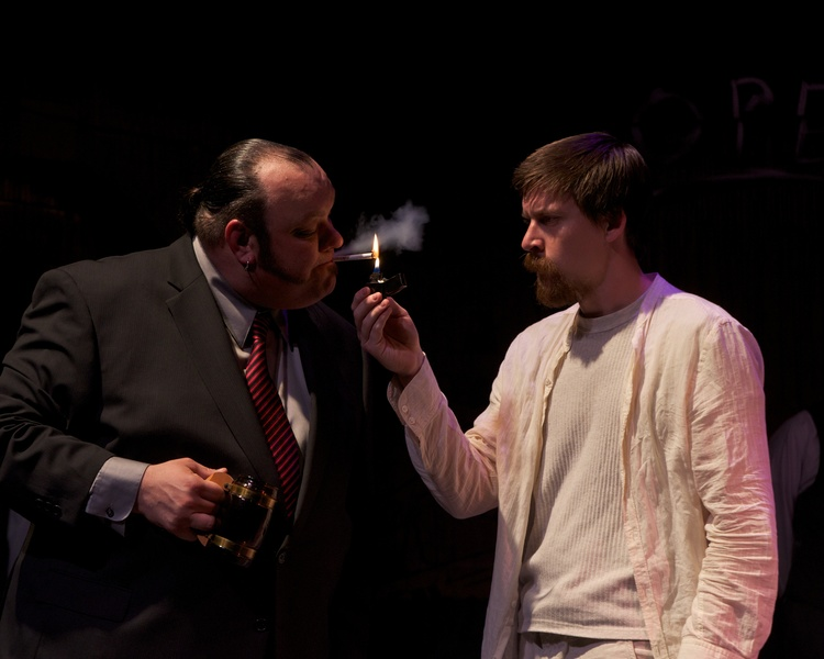 "Damon Dering and Tyler Eglen in ""The Last Days of Judas Iscariot,"" 2012, Stray Cat Theatre. (Photo by John Groseclose)"